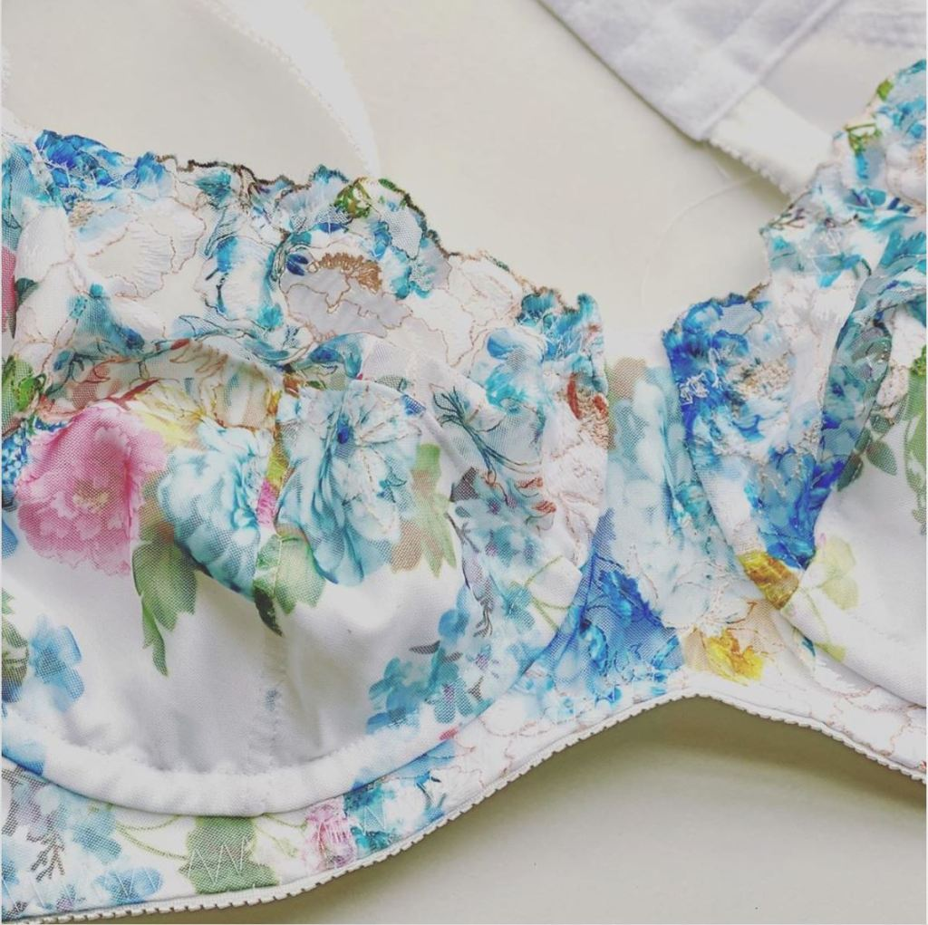 A close up picture of a blue and pink delicate floral bra.