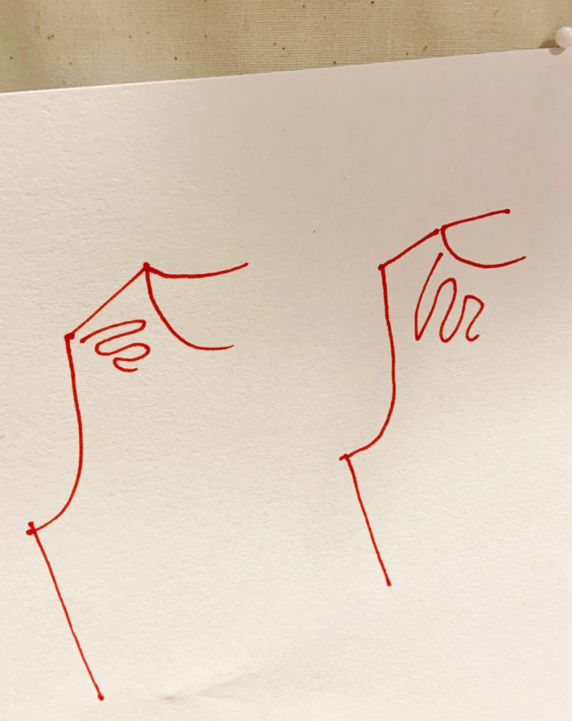Image is an illustration that is supposed to show draglines on a bodice that will point out whether there is too much slope or too little, but the illustration is not very clear and it is hard to distinguish the difference.