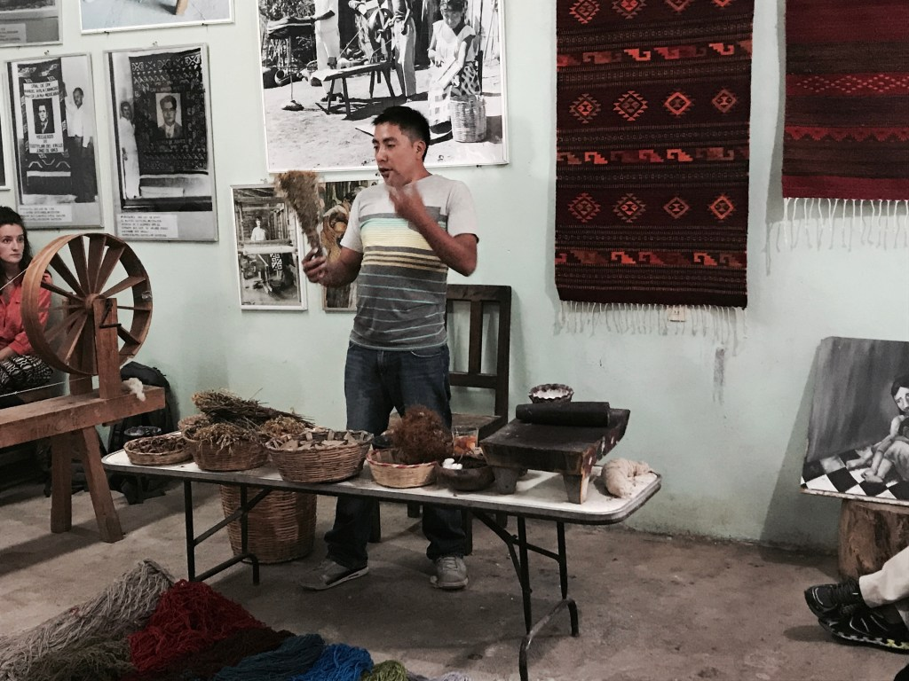 A man is giving a talk about the prodution of tapetes, with photos and rugs displayed on the wall behind, and a table with plants and other ingredients usd in the process on a table in front of him.
