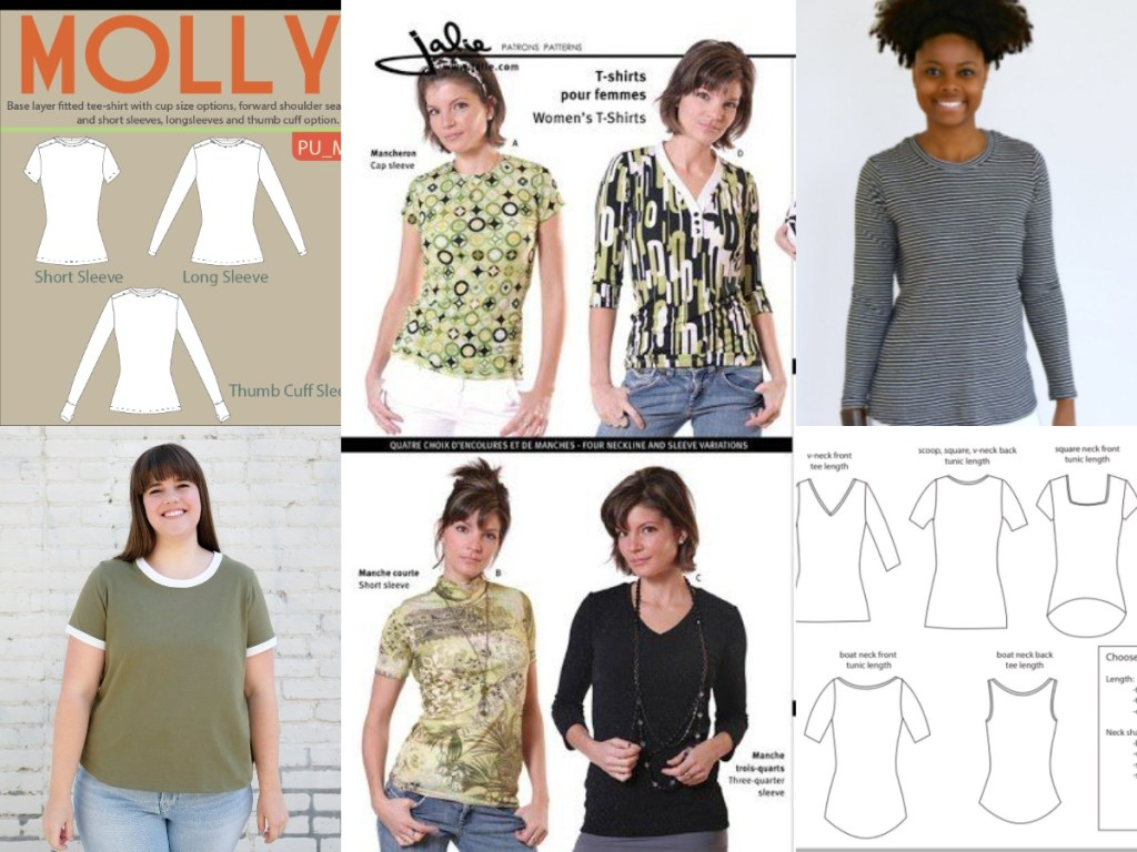 A compilation of six different tee shirt patterns shown in photos or line drawings. All have a fitted shape except for the Rio Ringer tee, and they feature a variety of neckline shapes, hems, and sleeves.