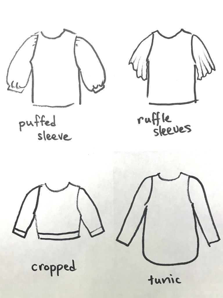 Sketches of a puffed sleeved t-shirt, a top with ruffled sleeves, a cropped tee and a tunic.