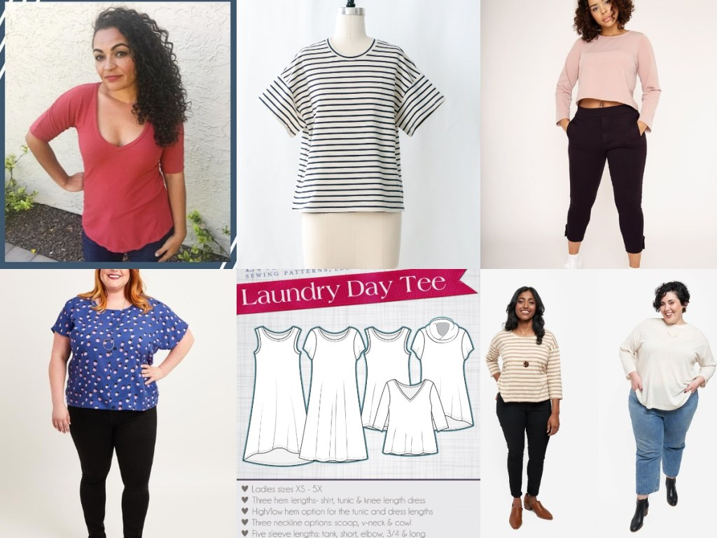 Gallery image of six T-shirt patterns: A woman with long, brow curly hair wears a red T-shirt with above-the-elbow sleeves; a mannequin wears a loose T-shirt with oversized sleeves in black-and-white stripes; a woman with mid-length brown curly hair wears a long-sleeved crop top in pink and black capri pants; a woman with long blond hair wears a blue and white polka-dotted T-shirt and black leggings; image of a pattern package with variations on a T-shirt; two women stand in front of the camera, one wears a brown and white striped three-quarter sleeve T-shirt and black pants; the other wears a long-sleeved white T-shirt and jeans.