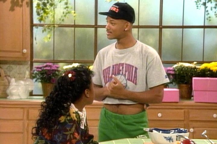 A young Will Smith wearing a crop top