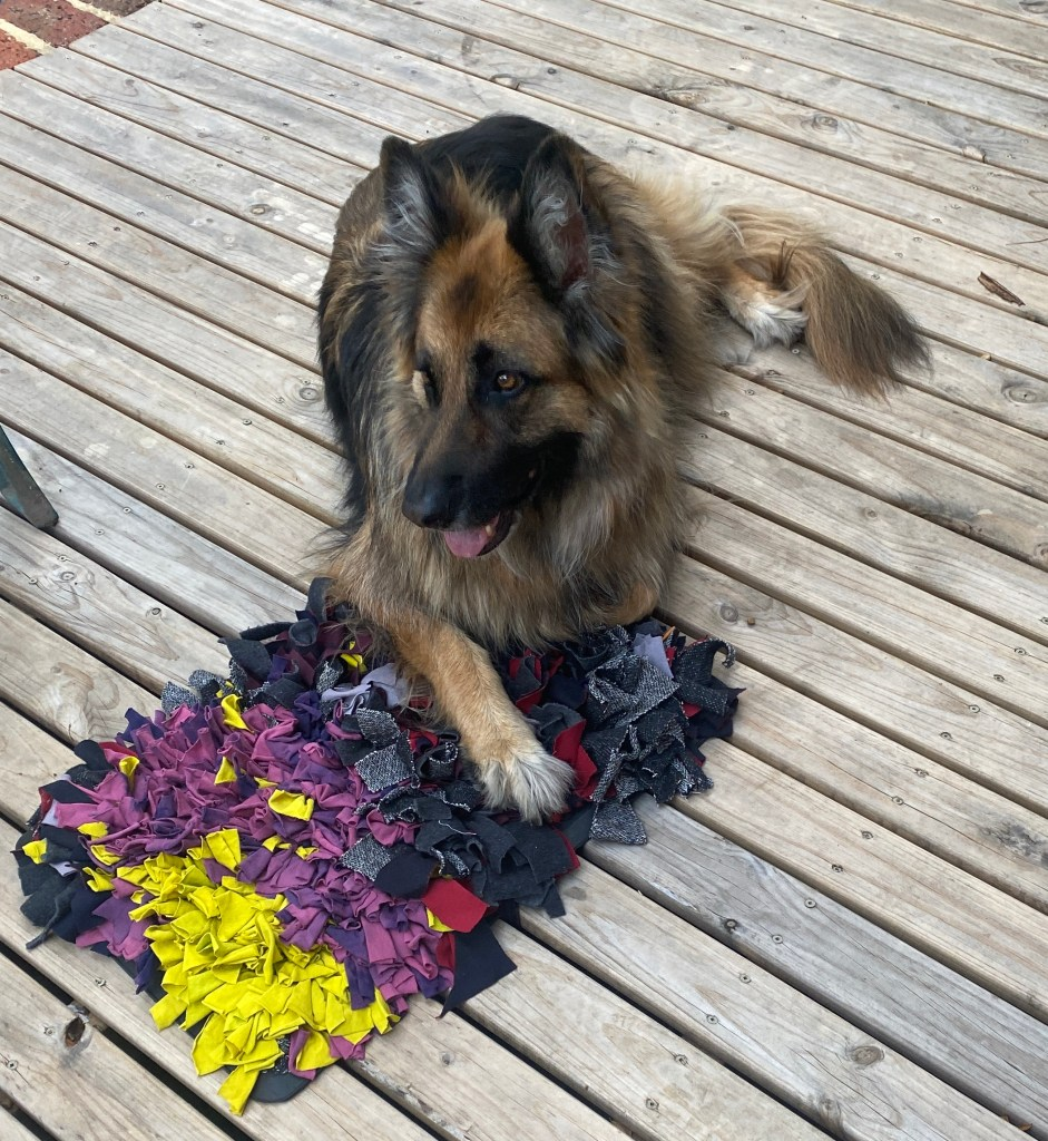 German Shepherd dog laying with her front paws on the snuffle rug.