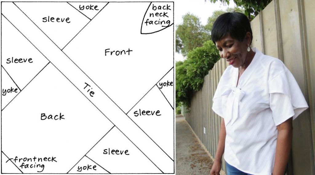 Image of a zero-waste pattern for a blouse with a tie next to the image of a woman with short hair wearing a white blouse with a tie bow