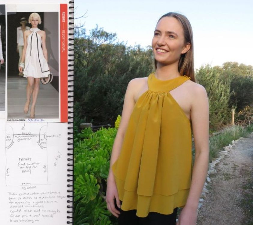Image of a woman walking the runway wearing a white dress with black details; below, image of the sketch of a zero-waste top with notes about the pattern; next to these images, an image of a woman smiling to the camera wearing a yellow flowy top