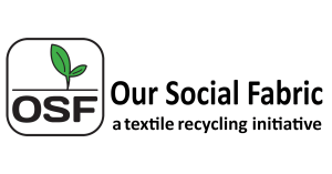Text displaying the words Our Social Fabric, a textile recycling initiative.