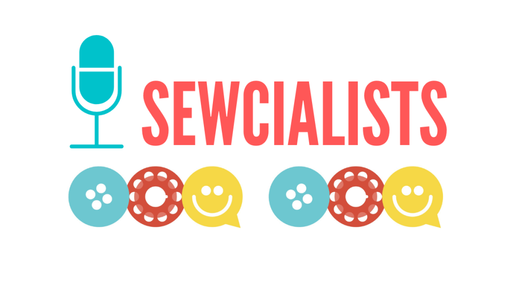 The logo of the Sewcialists Sew Organized Style podcast. The words Sewcialists logo is in red. The image also features a microphone in blue, a red bobbin, a blue button, and a yellow image of a smiley face.