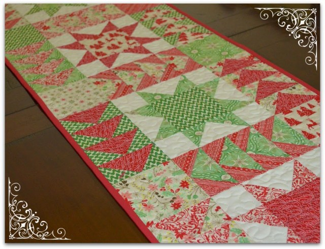tutorial christmas table runner patchwork stars flying geese
