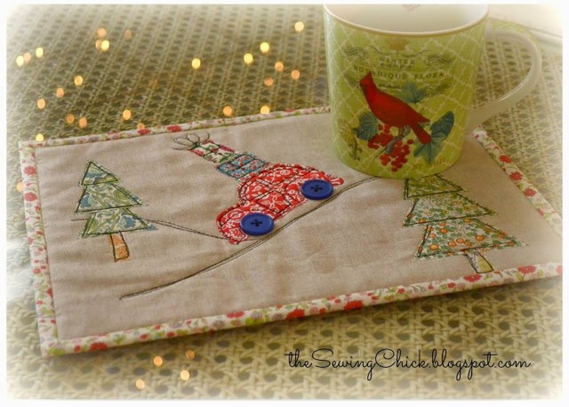 christmas mug rug free motion embroidery the sewing chick