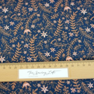 Filou blue flowers- Ribfluweel Corduroy COUPON 66 cm