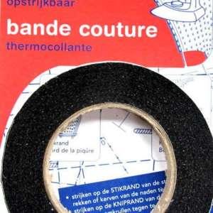 Naadband zwart opstrijkbaar 1 cm breed – rol 12,5m