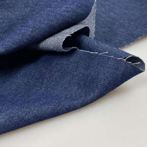 Denim washed dark blue- chambray katoen