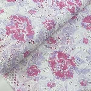 Broderie Pink flowers- katoen