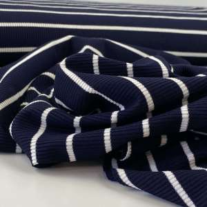 Navy stripes- jersey cotelé