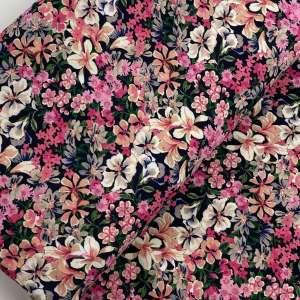 Happy pink flowers- viscose