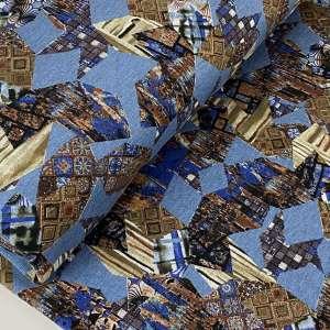 Blue patch-viscose tricot