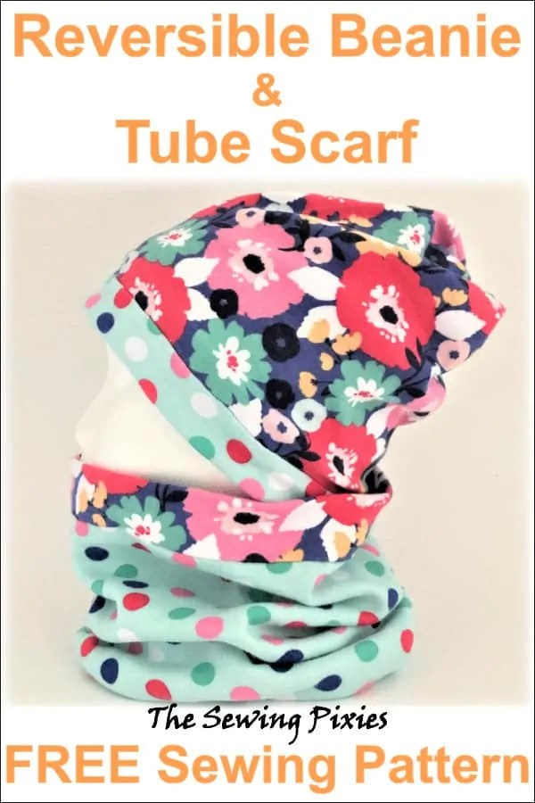 703b6ddd1582 Reversible beanie and tube scarf free sewing pattern  beaniefreepattern
