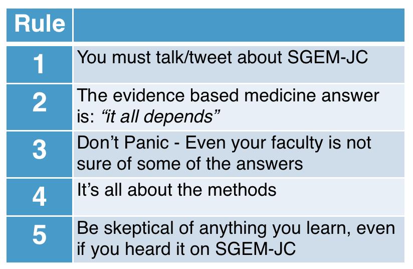 Five Rules of SGEM JC