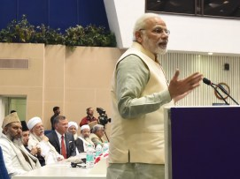 Prime Minister Narendra Modi speaking at an event about Islamic heritage and promoting understanding and moderation