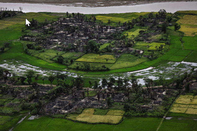 The remains of a burned Rohingya village is seen in this aerial photograph near Maungdaw, north of Rakhine State, Myanmar.