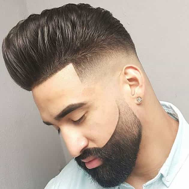 curved beard style with curved and Pompadour hair