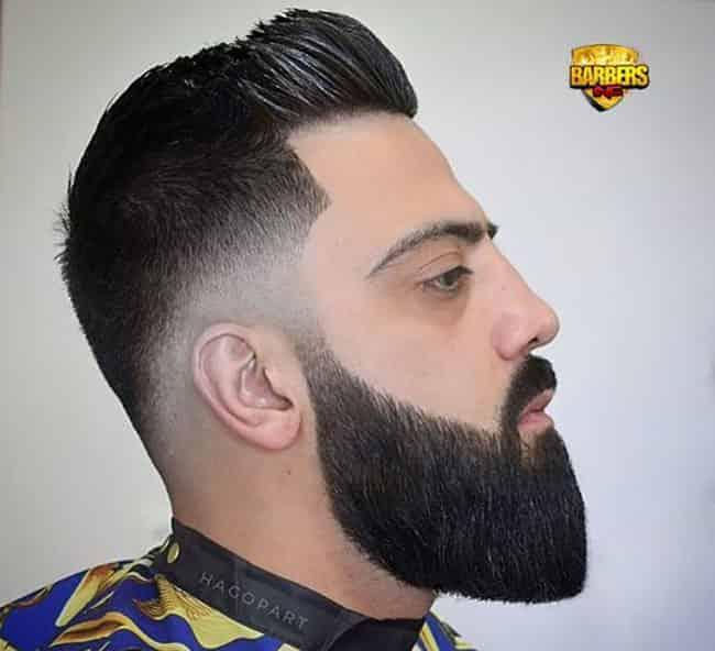fade haircut with medium beard