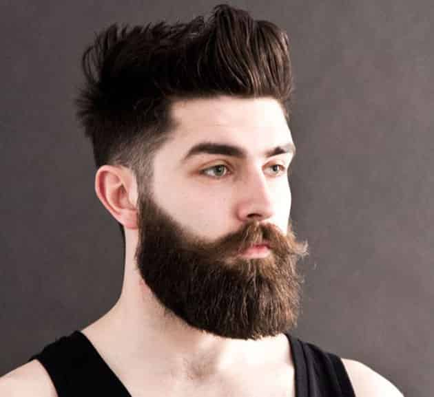 Full Long Beard with Curved Mustache and Fade Hair