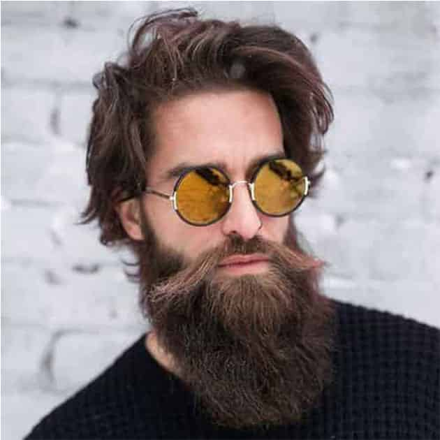 Long Beard with Side Long Mustache and Medium Hair