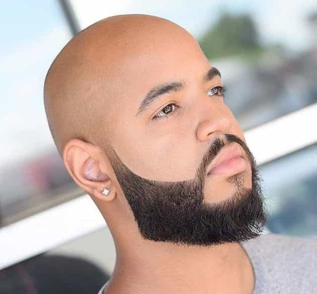 curved beard with bald