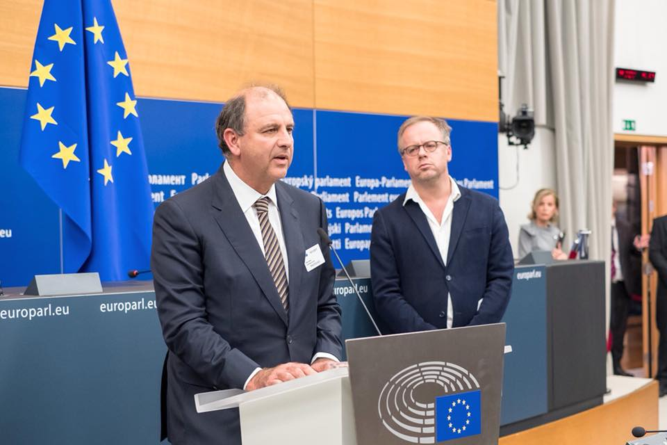 Peter Caruana Galizia addressing the launch of a press room in the European Parliament named after his wife, slain journalist Daphne Caruana Galizia.