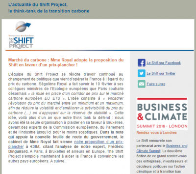 Aperçu newsletter shift Project mars 2016