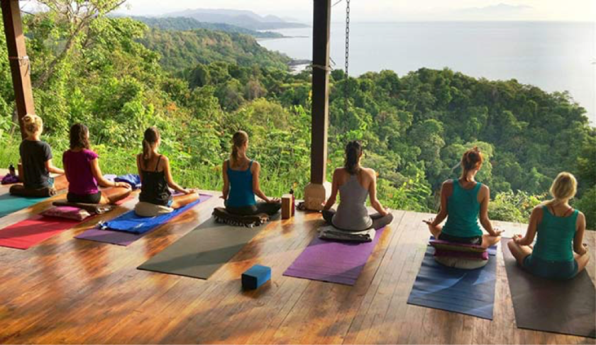 Meditation during a yoga retreat.