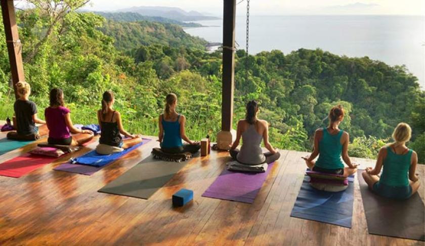 Meditation during a yoga retreat.