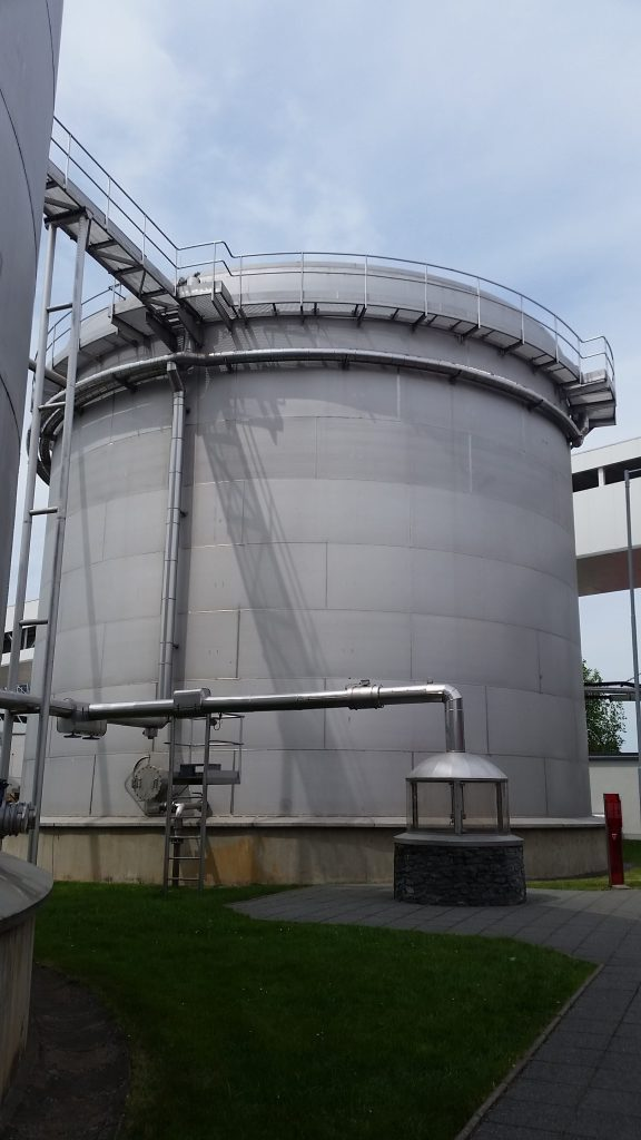 One of the massive tanks used by Budweiser Budvar to hold the water pumped from the ground.