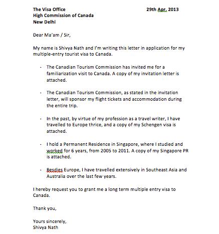 Sample Letter For Australian Visa