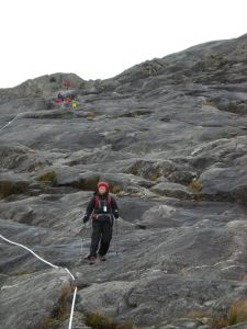 The rope-clutching climb