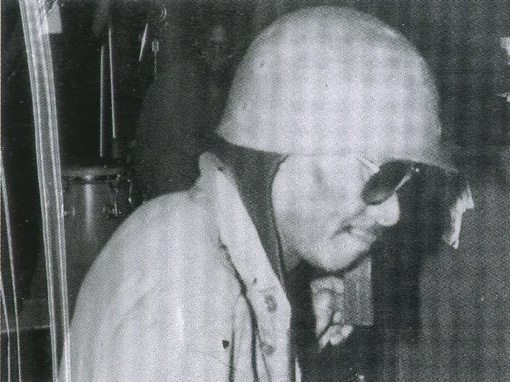 Earl Freeman, in full combat aviator head gear, in the studio.