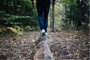 Person Running through Woods