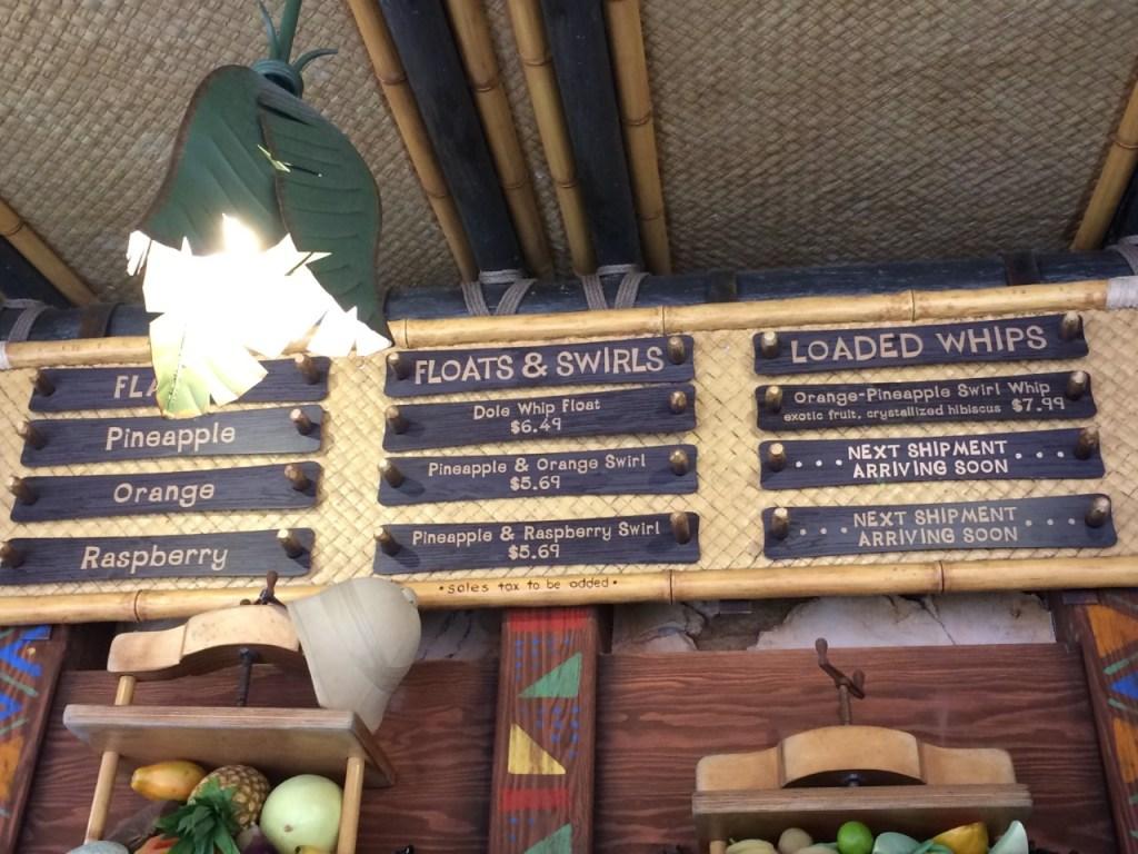 disneyland tropical hideaway dole whip menu