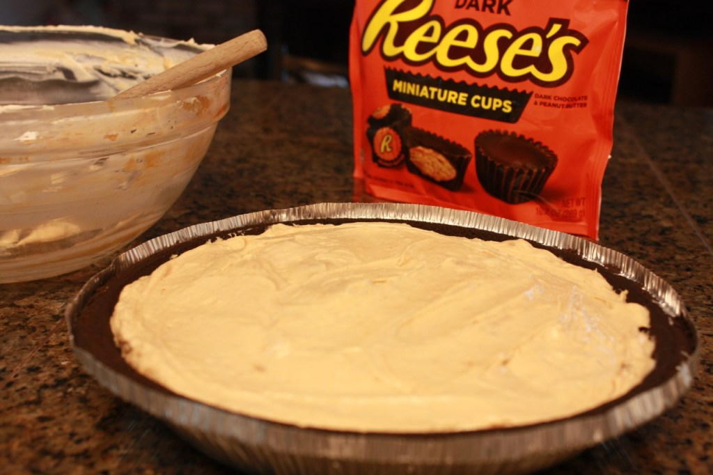 frozen peanut butter cup pie ready for freezer the short order cook