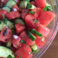 mexican watermelon cucumber salad close up the short order cook