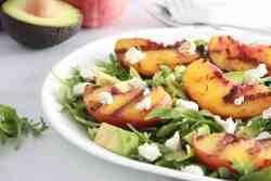 grilled Peach avocado goat cheese arugula salad