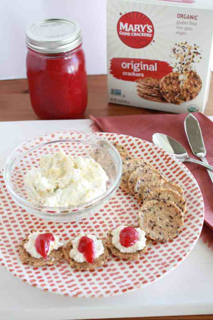 Holiday Cranberry Cheese Spread ready to serve