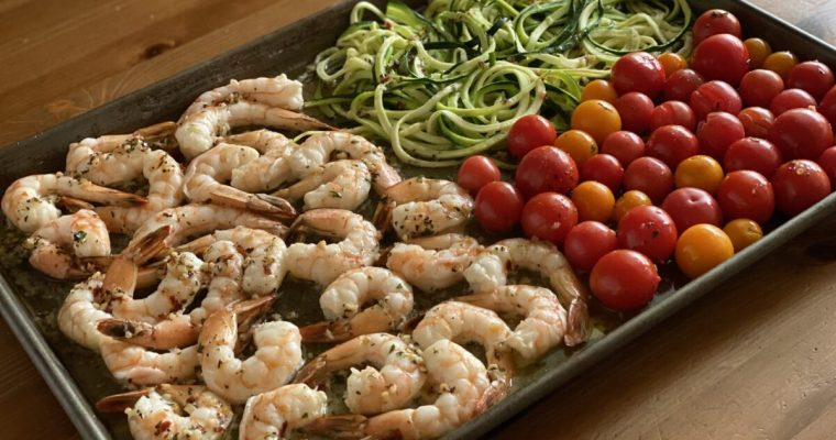 Sheet Pan Shrimp Scampi with Tomatoes and Zucchini
