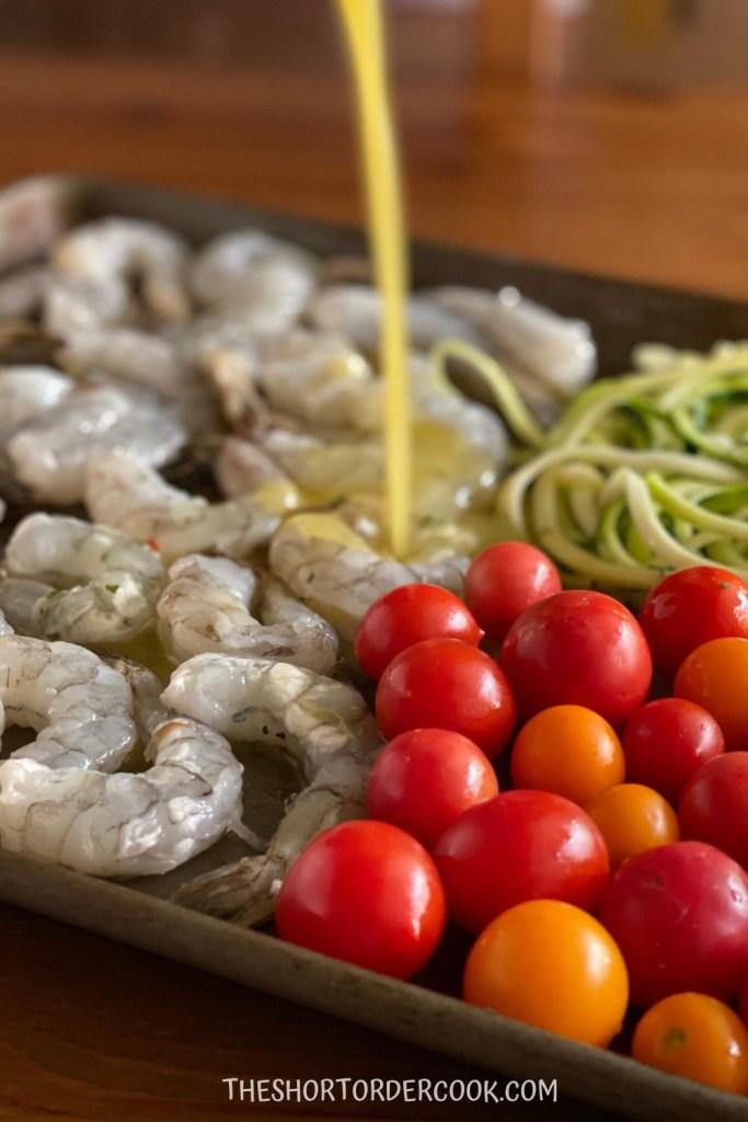 sheet pan shrimp scampi pour sauce