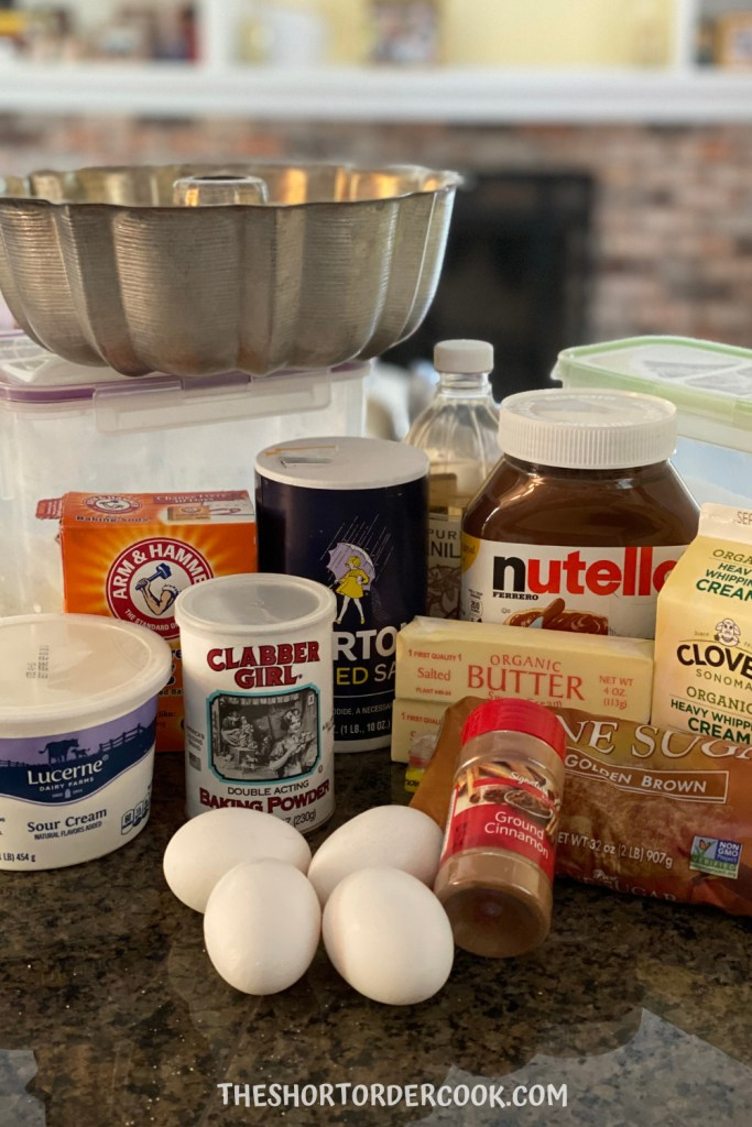 Ingredients for Nutella Swirl Sour Cream Coffee Cake
