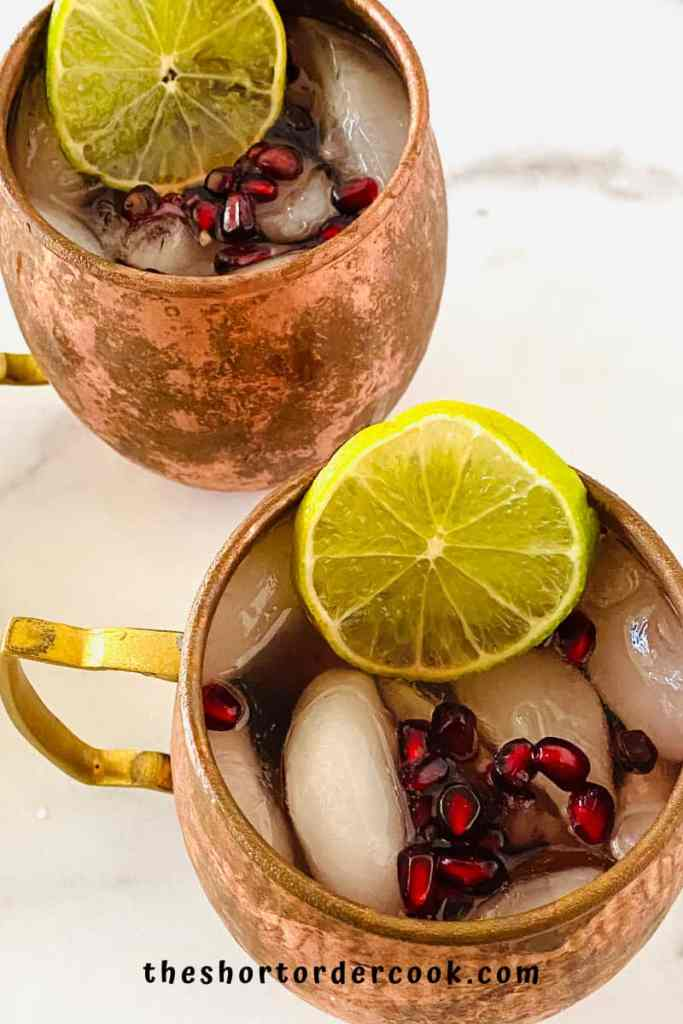 Best Pomegranate Moscow Mule Closeup overhead