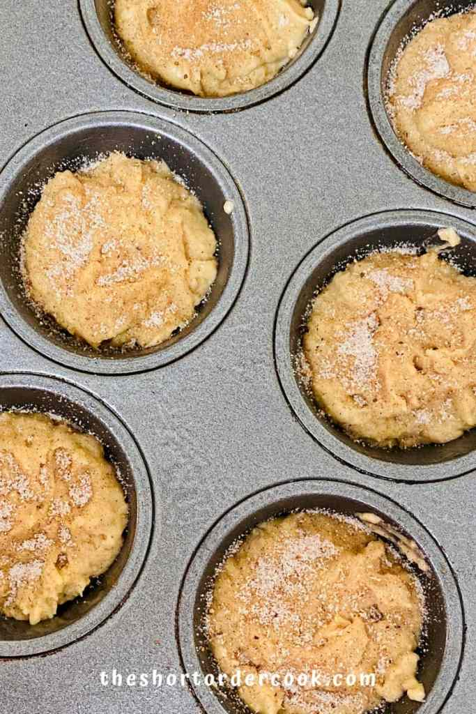 Easy Applesauce Muffins ready to bake in muffin pan