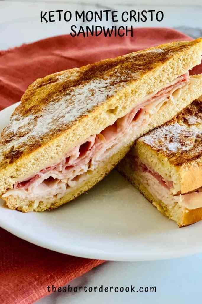 Keto Monte Cristo Sandwich plated with red napkin